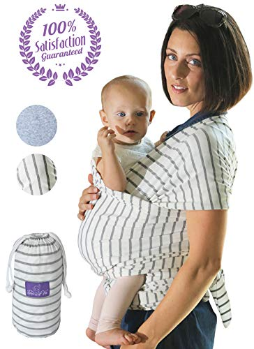 Cheap Bonne Vie Baby Wrap Carrier for Newborn, Infants & Toddlers – Lightweight & Breathable Cotton Sling for Men & Women – Baby Wearing Made Easy – Boy Girl Baby Shower Gift & Registry Must Haves