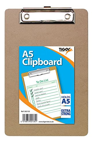 Tiger Stationery 302135 A5 Masonite Clipboard (Pack of 12)