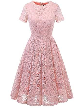 4da59065c000e DRESSTELLS Women's Bridesmaid Vintage Tea Dress Floral Lace Cocktail Formal  Swing Dress