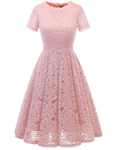 DRESSTELLS Women's Bridesmaid Vintage Tea Dress Floral Lace Cocktail Formal Swing Dress Blush S
