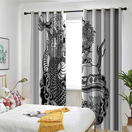 AndyTours Asian Grommet Indoor Curtains Eastern Mythological Dragon Japanese Legend Folk Tale Fantastic Animal Illustration Insulated with Grommet Curtains for Bedroom 84
