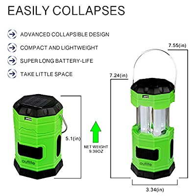 """Outlite 180 Lumen Collapsible LED Camping Lantern, Solar USB Rechargeable Camping Light Flashlight with 2 """"S"""" Hook, Portable Water resistant Outdoor Survival Lamp for Hiking Fishing Emergency Outages"""