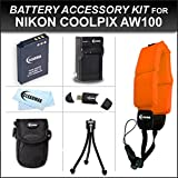 Clearmax® Must Have Accessory Kit for Nikon Coolpix AW100 Waterproof Digital Camera Includes Extended Replacement EN-EL12 Battery + Ac/dc Travel Charger + USB 2.0 Card Reader + Deluxe Camera Case + Mini Tabletop Tripod + Floating Strap + Microfiber Cleaning Cloth