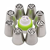 8 Pcs Kitchen Accessories Cake Pastry tools Stainless Steel Nozzles Russian Piping Tips +1 PCS Baking Converter Coupler