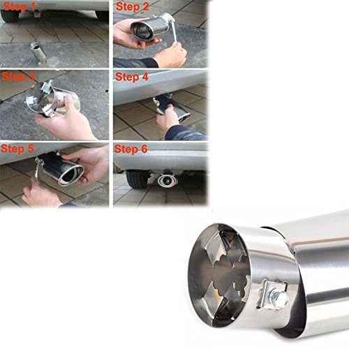 Gaosheng universal Car Stainless Steel Chrome Fits EXHAUST Tail Muffler Tip Pipe Car
