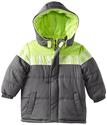 iXtreme Little Boys' Contrast Color Colorblock Puffer, Grey, 4