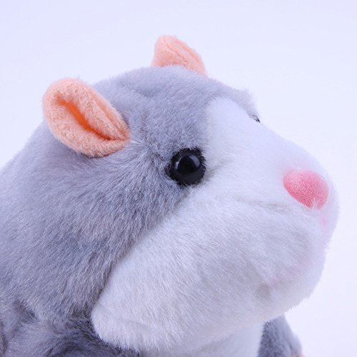 MIMINUO Talking Hamster Repeats What You Say Electronic Pet Talking Plush Buddy Mouse for Child Kids Party Toys,Batteries Not Included(Gray)