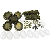 TOAOB Assorted Cabochon Frame Setting Tray Pendant Oval with Glass Dome Antique Brown Metal 25X18mm for DIY Jewelry Making Charms
