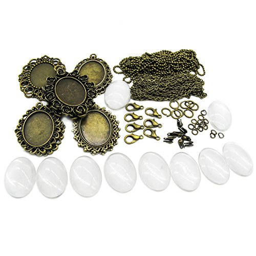 TOAOB 10 Set Beginner Quick Start Pendant Tray Kit For Jewelry Making Kits Oval Style Bezel Antique Bronze In Color With Glass Cabochons Chains And ()