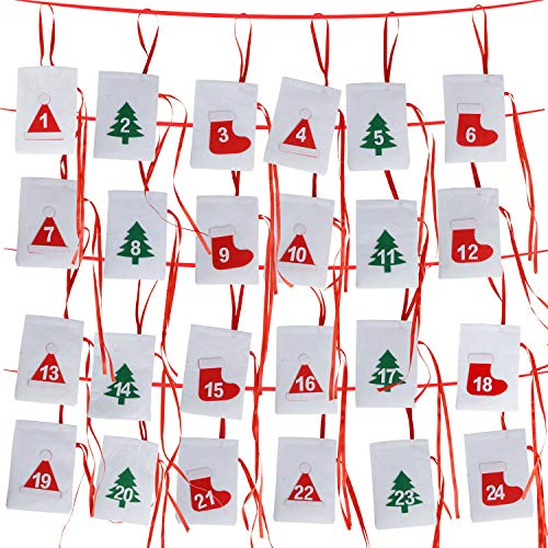 MAOO Felt Christmas Advent Calendar 2018, 24 Days Countdown Advent Calendar Garland for Holiday Christmas Decorations Bags -