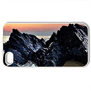 fabulous black rocks on a beach at sunset - for iPhone 4 and 4s (Beaches Series, Watercolor style, White)