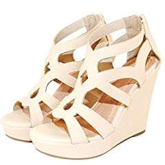 This cute Hight platform wedge sandals are absolutely beautiful and very comfortable. Featuring an open toe, a faux nubuck upper, and gladiotor inspired cut out design with stitching datails. Finished with a slightly cushioned insole and an a...