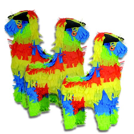 "Mini Multicolored Bull Fiesta Pinata Party Favors, 3 Pieces, 10"" high, Paper Mache Hand Molded Gifts"