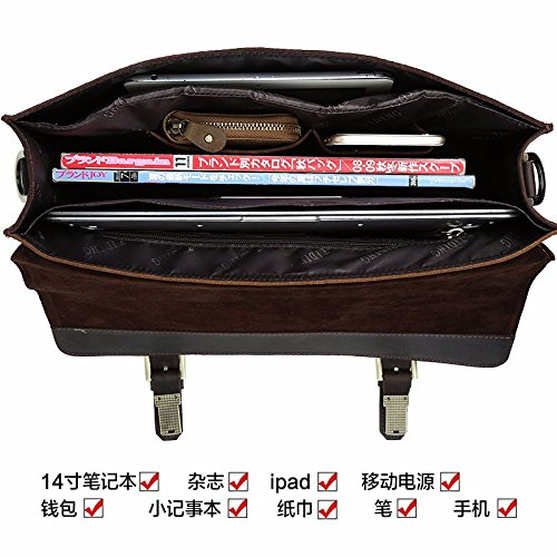 ZHUDJ Vintage British Male Fashion Business Yuppie Gentleman Xiekua Package Bag Shoulder Bag Handbag Briefcase With Three Computer, 8341 Cross Section Black 8341 cross section black