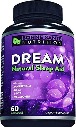 Dream- Natural Sleep Aid - Includes Magnesium - GABA - 5-HTP - Melatonin, Supports Relaxation, Deep Sleep, and Refreshed Mornings, for Men and Women, All Natural Sleeping Pills, 60 Capsules