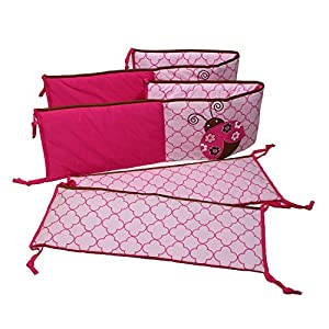 Lady Bugs Pink/Chocolate Bumper Pad