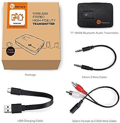 TaoTronics Transmisor Bluetooth 4.0 Estéreo Hi-Fi De Música (No es ...