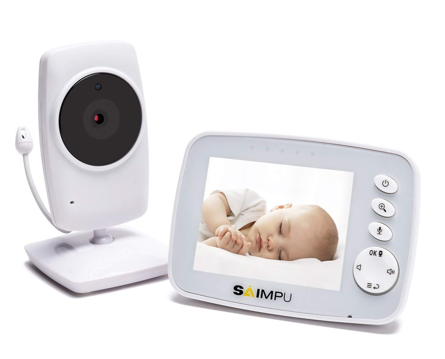 Baby Monitor-3.2 Inch Video Baby Monitor with Camera and Audio for Baby Nursery,Support Multi Camera,Two Way Talk,Temperature Sensor,Built-in Lullabies by SAIMPU (Image #1)