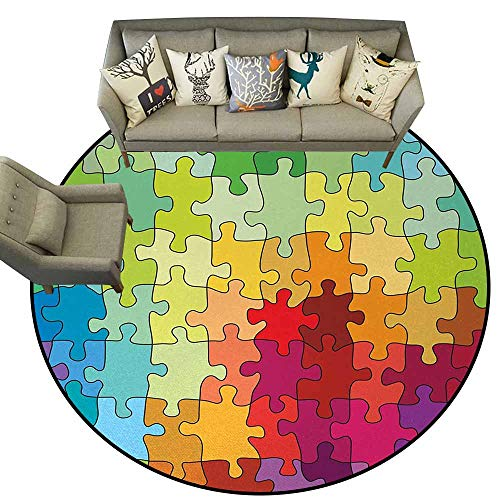 Abstract,Kitchen Doormat D72 Colorful Puzzle Pieces Fractal Children Hobby Activity Leisure Toys Cartoon Image Contemporary Indoor Area Rugs Multicolor from Fred Hartle