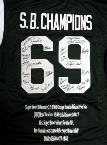 1969 SUPER BOWL CHAMPION NEW YORK JETS AUTOGRAPHED GREEN JERSEY WITH 25 SIGNATURES INCLUDING JOE NAMATH PSA/DNA STOCK #51697