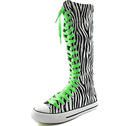 DailyShoes Womens Canvas Mid Calf Tall Boots Casual Sneaker Punk Flat, Zebra Boots, Grassy Green Lace