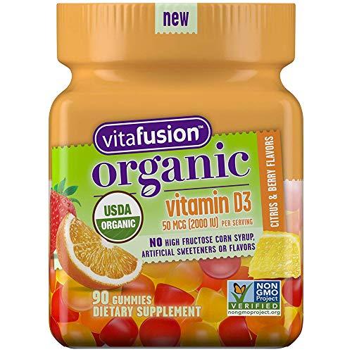 Vitafusion Organic D3 Gummy Vitamin, 90 Count - Non-GMO, Gluten-Free, Dairy-Free, No Gelatin, No HFCS ()