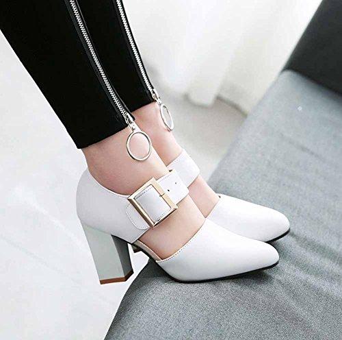 Corte de Correa del la SHINIK Estrecha de Forman 31 Talón Tamaño 48 de D'orsay de la Zapatos Las Blanco Alto Mujeres Hebilla Punta de Sandalias wIIPUA
