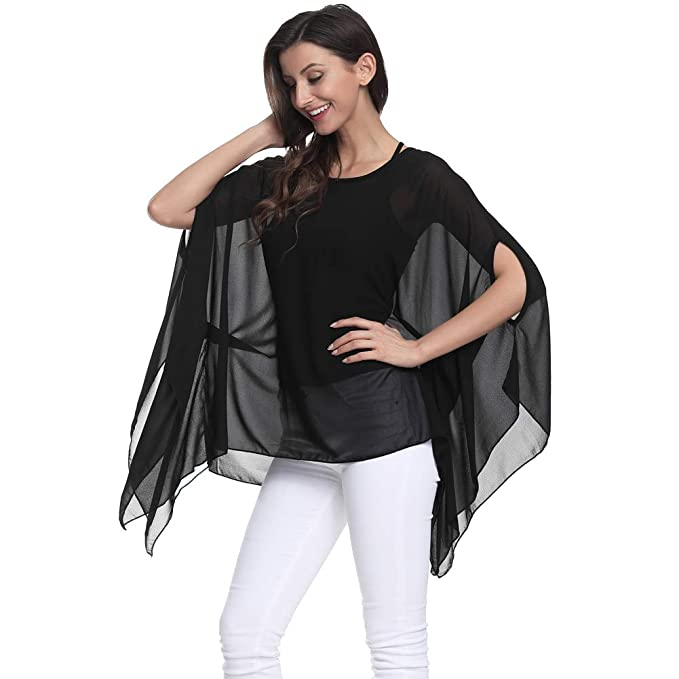 25b89f391c8 Max Hsuan Women's Loose Solid Sheer Chiffon Caftan Poncho Batwing Tunic Top  Blouse Summer Oversized Shirts