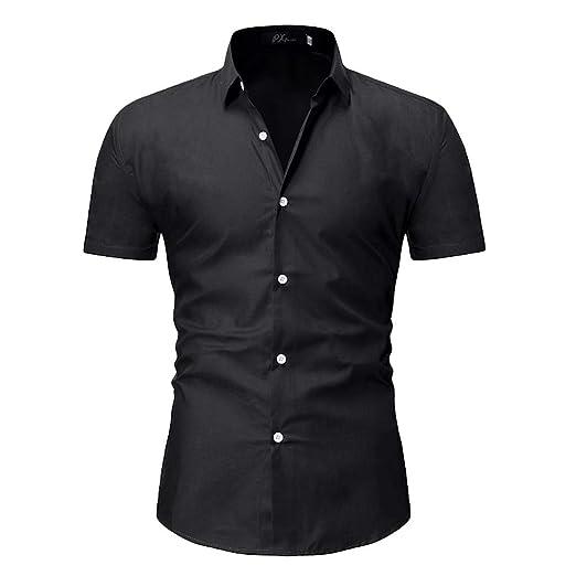 aef62a7fe Mens Short Sleeve Shirts Casual Formal Slim Fit Shirt Top at Amazon ...