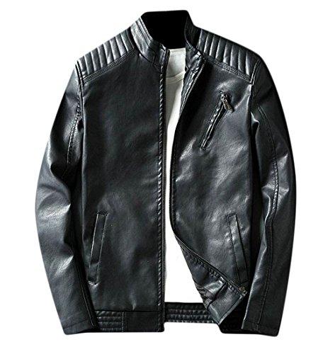 Caldo In Oggi Casuale Uomini Cappotto Rivestimento Cerniera Del Con Nero Collo Pelle Moto Supporto uk Finta H5qYS15