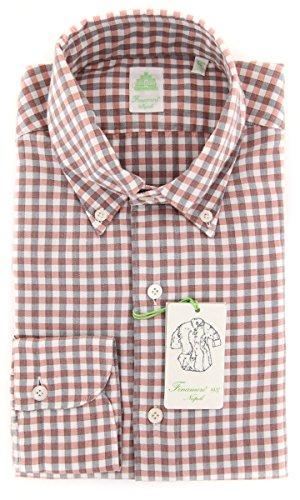 Finamore New Napoli Red Plaid Extra Slim Shirt (Napoli Shirt Red)