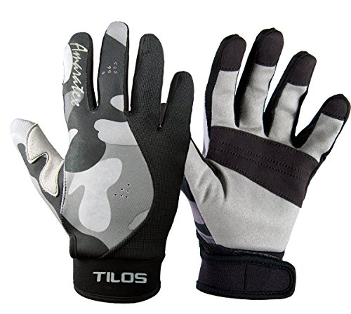 - Tilos 1.5mm Tropical Dive Gloves Stretchy Mesh with Amara Leather for Snorkeling, Kayaking, Water Jet Skiing, Sailing, Scuba Diving, Rafting (Gray Camo, 2XL)