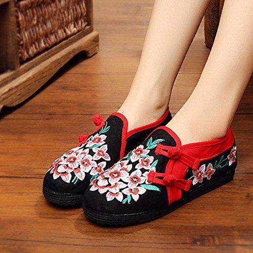 KHSKX-Zapatos Viejos Mujeres Otoño Nuevo Estilo Popular De Algodón Transpirable Zapatos Mujer Zapatos Bordados Bordados ParaguayosTreinta Y CuatroBlack