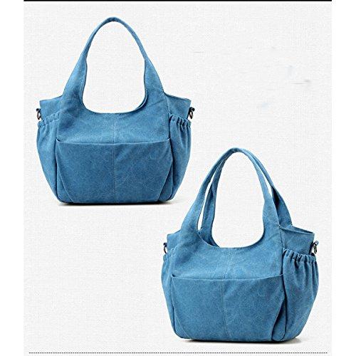 Bolsa De Hombro De Lona Grande De Las Mujeres Bolsa De Tapa De La Manija Bolso Bolsa De Satéll Multicolor Blue