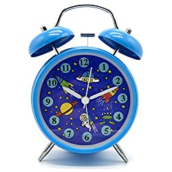 Yatow Cute Children's Alarm Clock 4 Twin Bell Wake Up Alarm Clock Nightlight Silent Best Kids Present