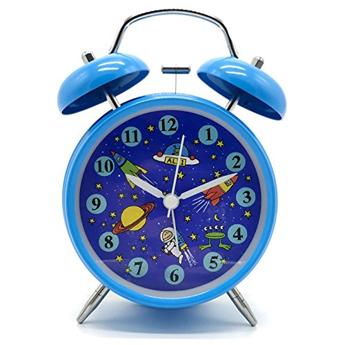 "Yatow Cute Children's Alarm Clock 4"" Twin Bell Wake Up Alarm Clock Nightlight Silent Best Kids Present"