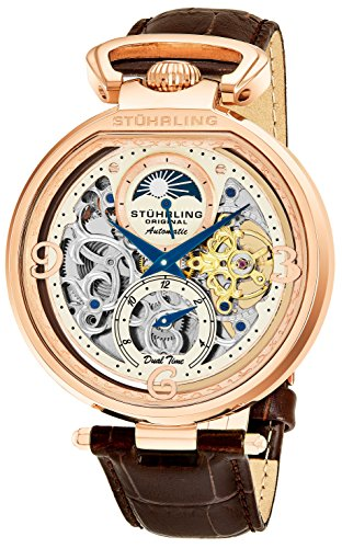 Jewel Movement (Stührling Original Mens Rose Gold Tone Skeleton Watch - Silver Dial with Gold and Blue Accents - Brown Leather Band with Deployant Clasp - AM/PM Sun Moon Indicator, Dual Time, mens watches 889 collect)