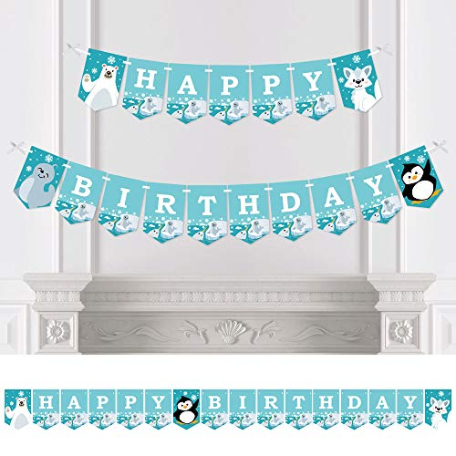 Big Dot of Happiness Arctic Polar Animals - Winter Birthday Party Bunting Banner - Birthday Party Decorations - Happy Birthday (Penguin Party Animal)