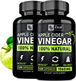 (2-Pack) 100% Natural Raw Apple Cider Vinegar Pills (1560 mg | 240 Capsules) Pure Apple Cider Vinegar Tablets with Cayenne Pepper for Detox Cleanse Weight Loss, Appetite Suppressant, Bloating Relief