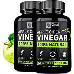(2-Pack) 100% Natural Raw Apple Cider Vinegar Pills (1500 mg | 240 Capsules) Pure Apple Cider…