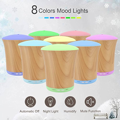 LUSCREAL Essential Oil Diffuser Woodgrain, 200ml Aromatherapy Diffusers for Essential Oils and Humidifiers with Adjustable Mist Mode, Auto Shut-off, 8 Colors Light for Home Gift