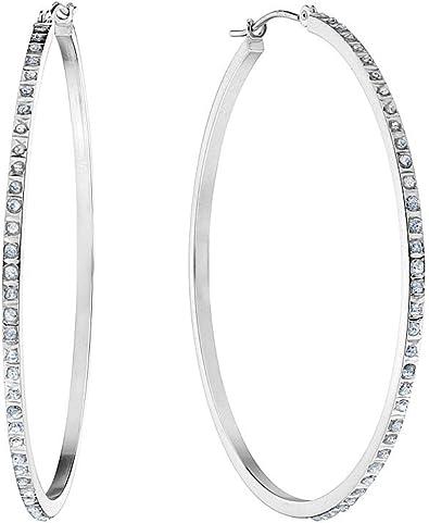 Grandes Arete De Aro De Diamantes En Oro Blanco De 14 K 1 3 4 Inch Jewelry