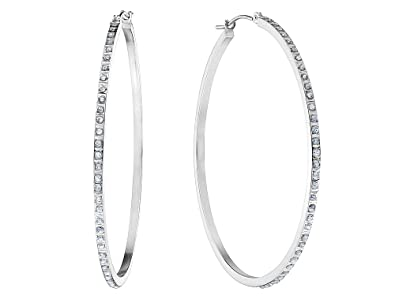 b28a2cce57688 Large Hoop Earrings in 14K White Gold (1 3/4 Inch) with Diamond Accents