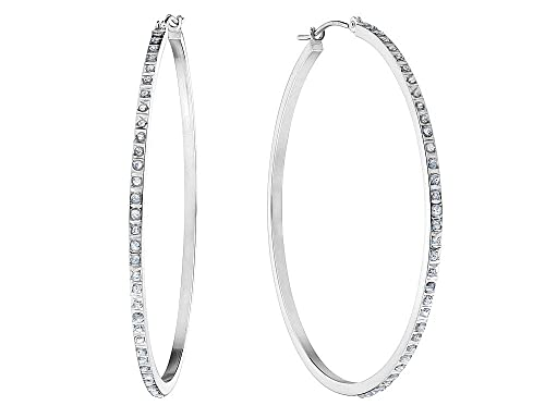 Amazon Com Large Accent Diamond Hoop Earrings In 14k White Gold 1