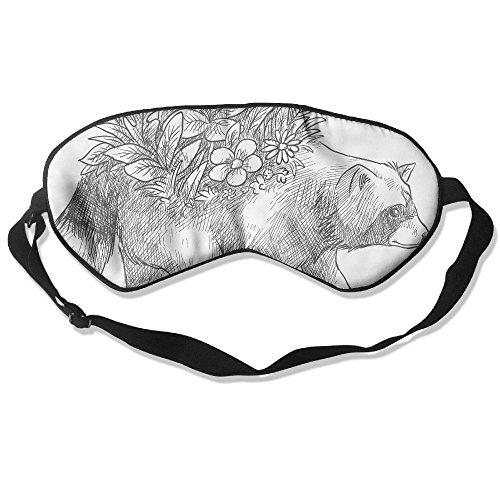 WUGOU Sleep Eye Mask Bear Painting Lightweight Soft Blindfold Adjustable Head Strap Eyeshade Travel Eyepatch ()