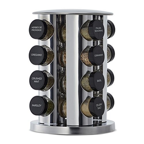 (Kamenstein 5181434 Revolving 16-Jar Countertop Spice Rack Tower Organizer with Free Spice Refills for 5 Years)
