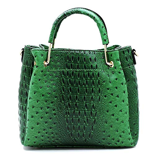 Vegan Faux Leather Ostrich Croco Embossed Crossbody Medium-Small Handbags with Metal Top Handle - Patent Faux Leather Green
