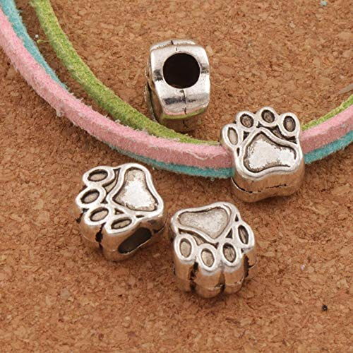 Calvas 16PCS 10x11mm Bear Paw Dog Prints Animal Big Hole Beads Spacers Fit European Bracelet Jewelry DIY L1342