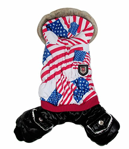 PoodleHouse Fabulous American Flag Pattern Pet Costume Winter Down Jacket Little Dog Coats for Puppy German Pointer (Aussie Flag Dress)