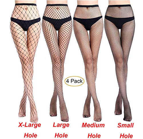MERYLURE Black Fishnet Pantyhose 2 Pairs Women's Seamless Sheer Mesh Hollow Out Tights Stockings (One Size, x-large+large+medium+small Hole,4 Pack) -